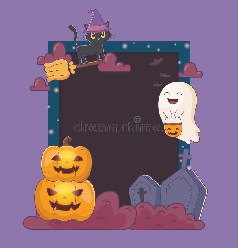 Cat ghost pumpkins and gravestone frame halloween. Cat ghost pumpkins and gravestone frame decoration halloween vector illustration stock illustration