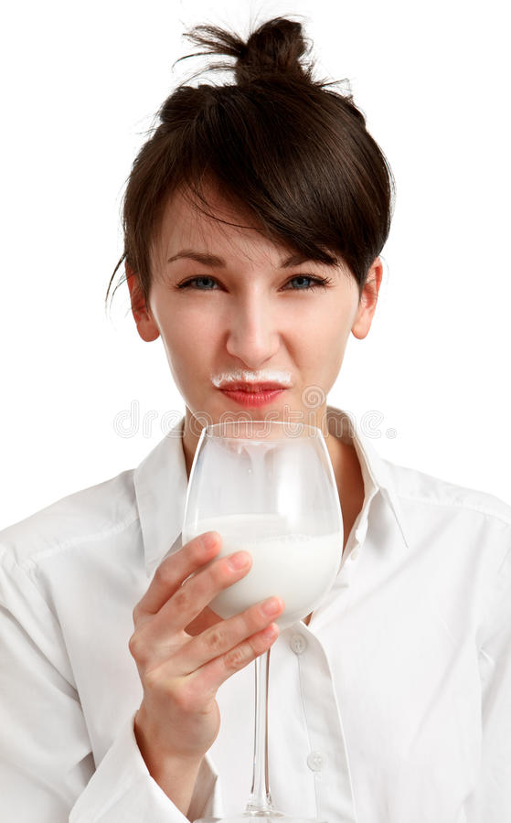 Download Cat Girl With Milk Mustache Stock Photo - Image: 13446184