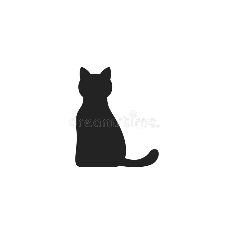 Cat Glyph Vector Icon, símbolo o logotipo stock de ilustración