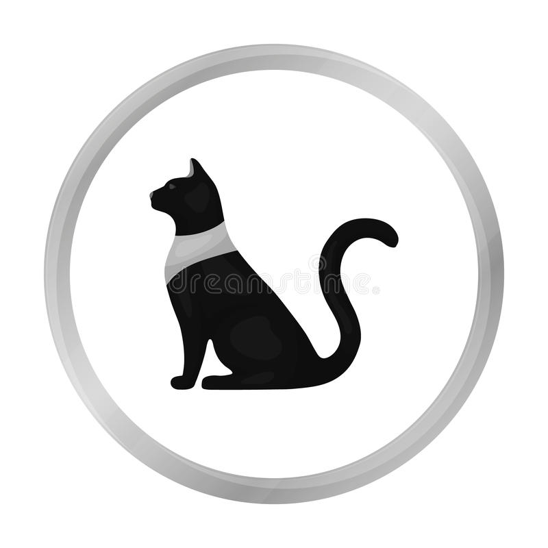 Cat goddess Bastet icon in monochrome style isolated on white background. Ancient Egypt symbol.  vector illustration