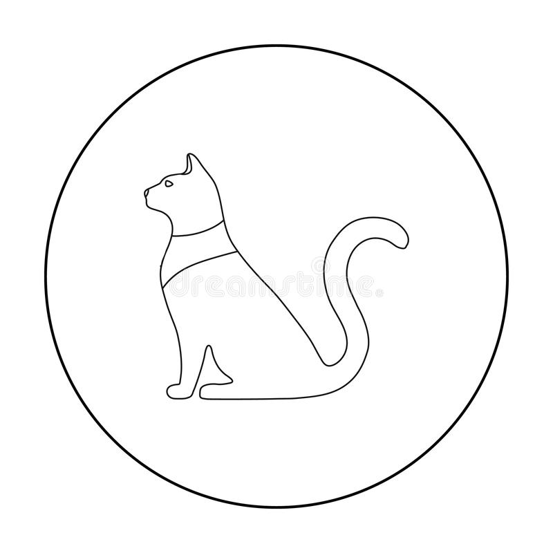 Cat goddess Bastet icon in outline style isolated on white background. Ancient Egypt symbol stock vector illustration. Cat goddess Bastet icon in outline style stock illustration
