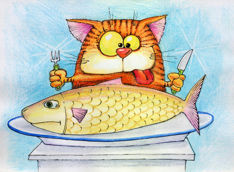 Cat is going to eat fish. Contented cat with a fork and knife in the legs is going to eat fish