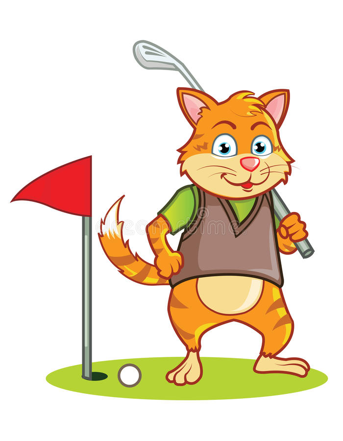 Cat Golfer Cartoon ilustração stock