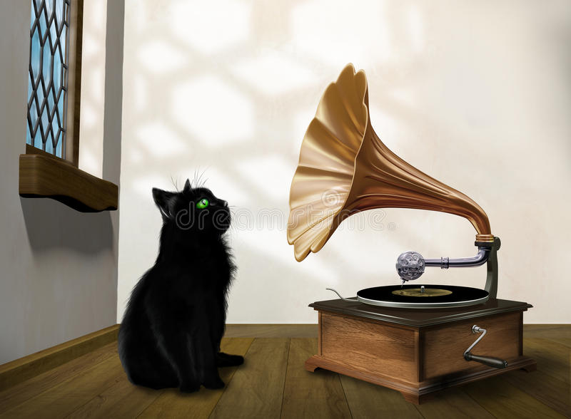 Download Cat with gramophone stock illustration. Image of fashioned - 29103202