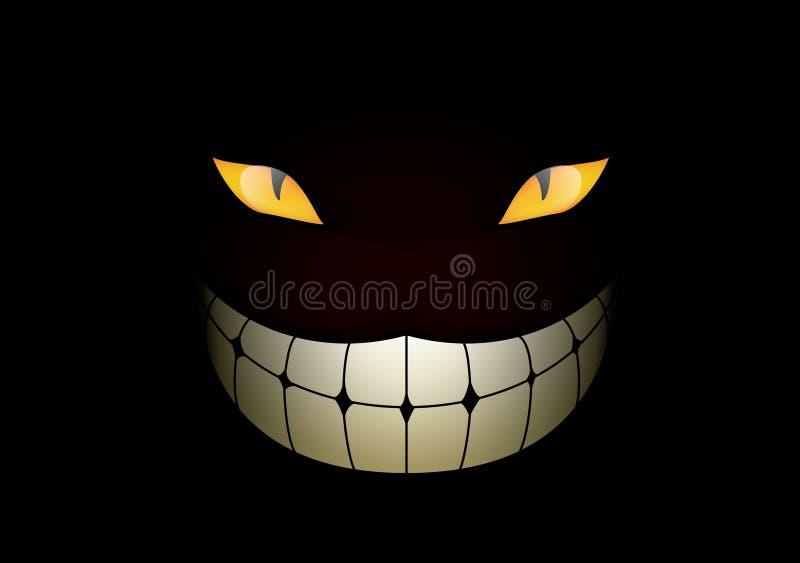 Cat grin in the dark stock illustration