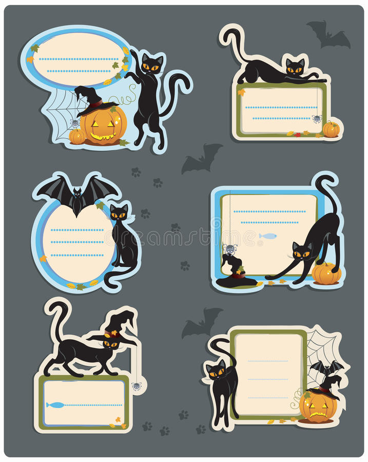 6 Cat Halloween Labels illustration de vecteur