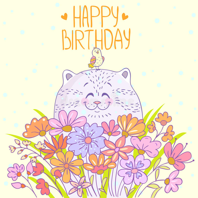 Cat Happy Birthday illustration libre de droits