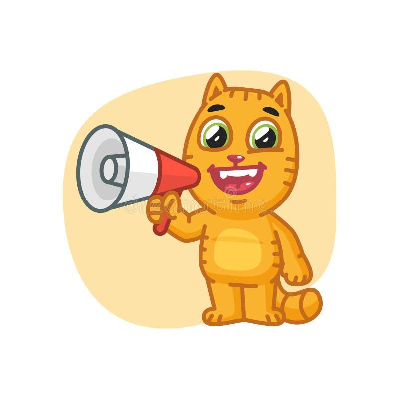 Cat Happy Holding Megaphone libre illustration