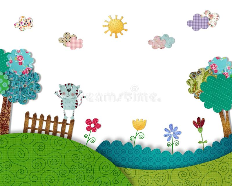Download Cat has fun outdoors stock illustration. Image of outdoors - 36982728