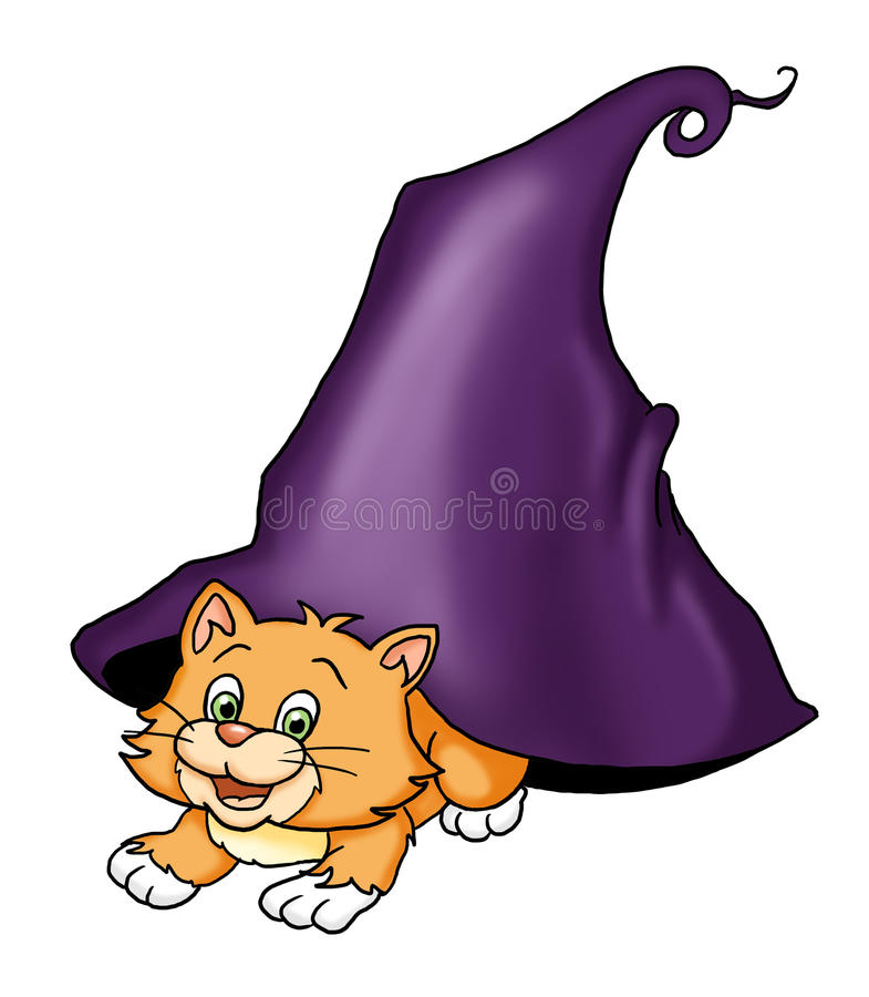 Download Cat with hat stock illustration. Image of animal, digital - 16200962