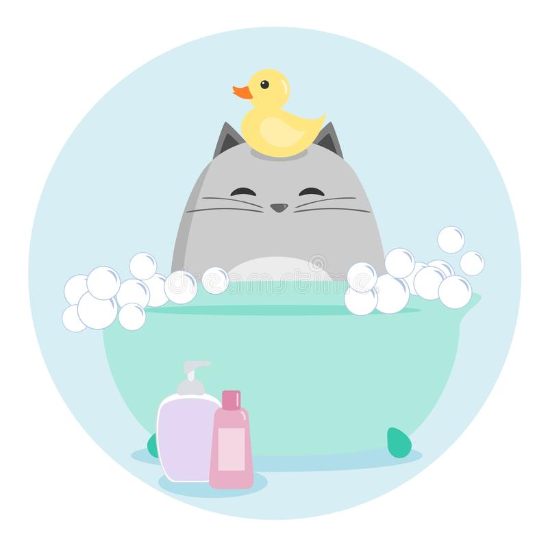 Cat Having a Bath vector illustration