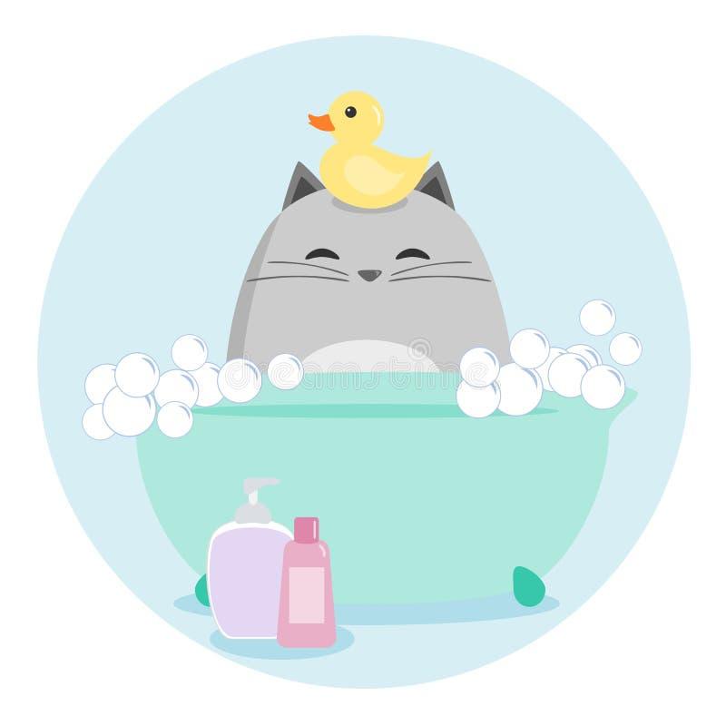Cat Having ein Bad vektor abbildung