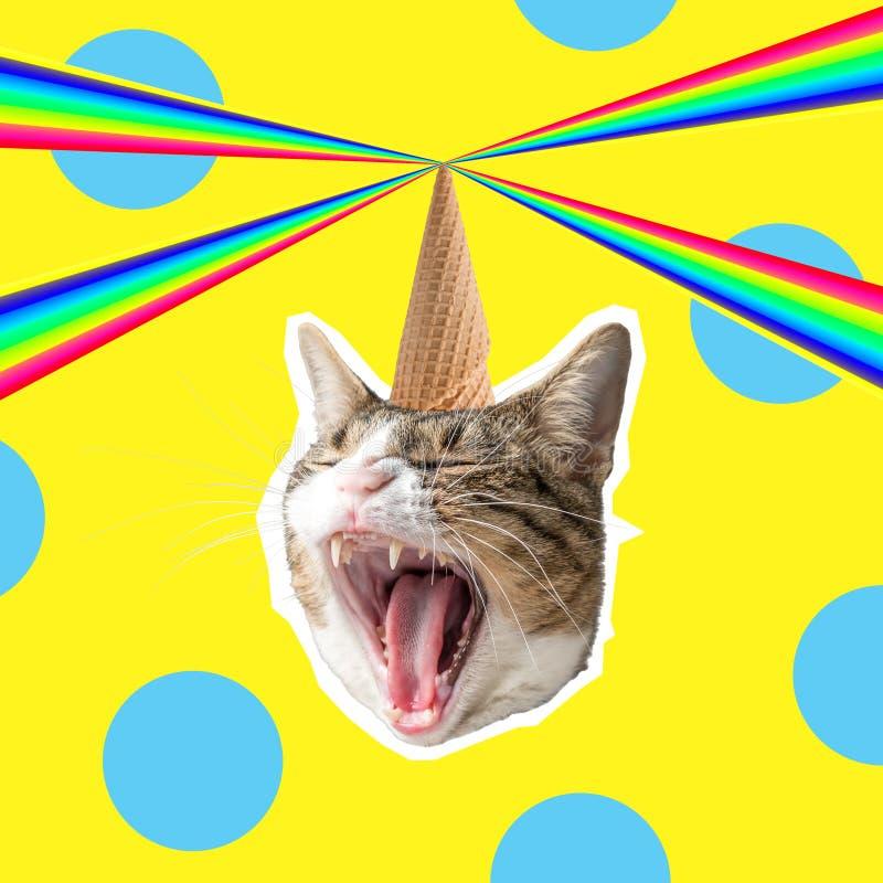 Cat head with rainbow, collage pop art concept design. Minimal summer background.  stock illustration