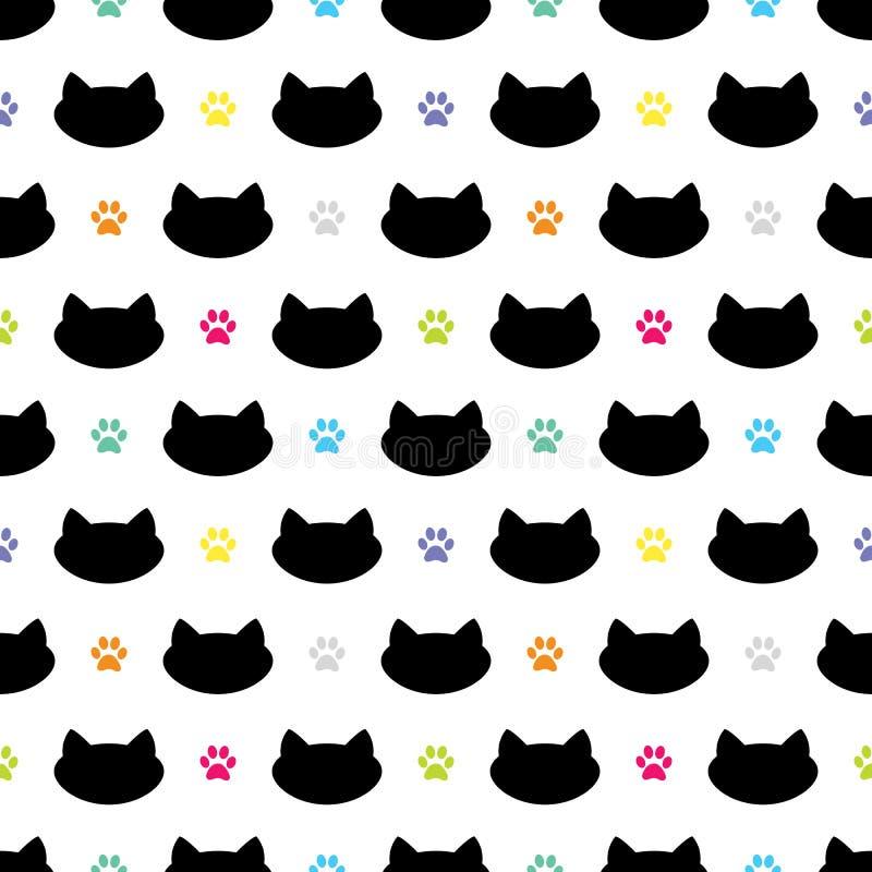 Cat Head Silhouette con el ejemplo colorido del vector de Paw Prints Cheerful Seamless Pattern libre illustration