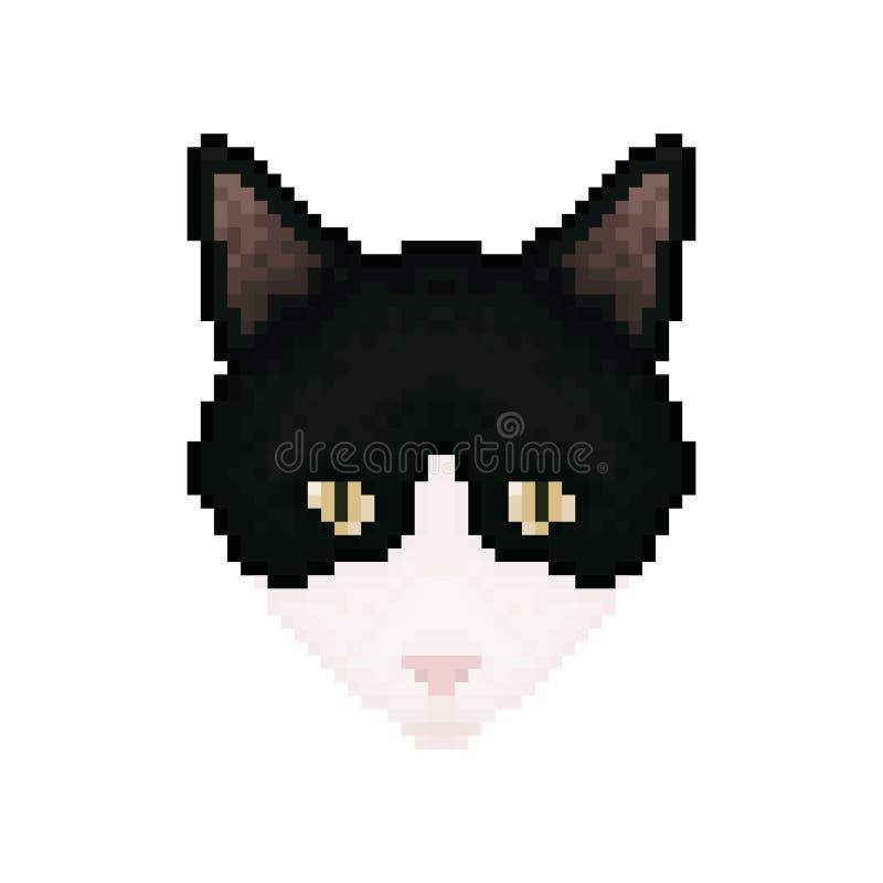 Cat Head vektor för digitalt för familj för konst seamless lyckligt för illustration PIXEL för modell Älsklings- djur stock illustrationer