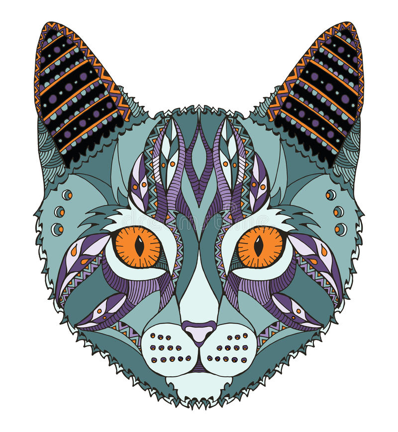 Cat head zentangle stylized, vector, illustration, freehand pencil, hand drawn, pattern. Zen art. Ornate vector. Lace. Color. stock illustration