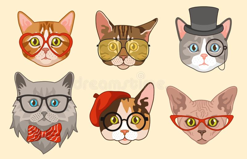 Cat heads. Cute funny cats avatar muzzles with accessories, glasses and hats, bow tie. Happy hipster pets vector stock illustration