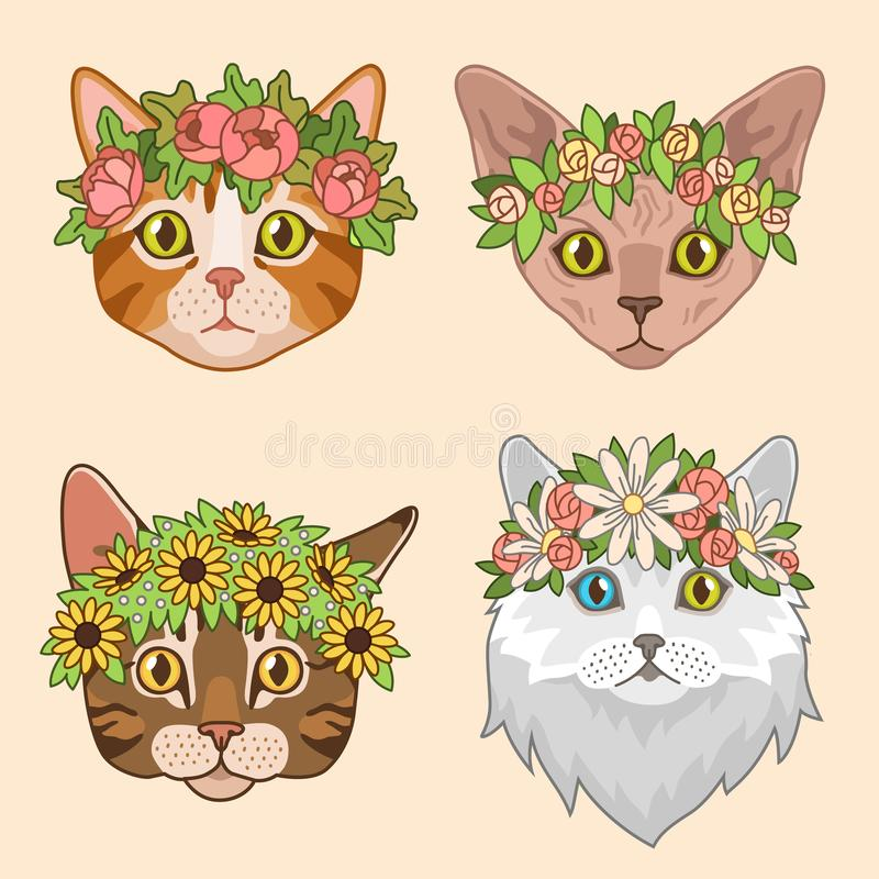 Cat heads with flower crown. Cute cats in floral wreath, funny kitties for birthday greeting cards. Girly vector print vector illustration