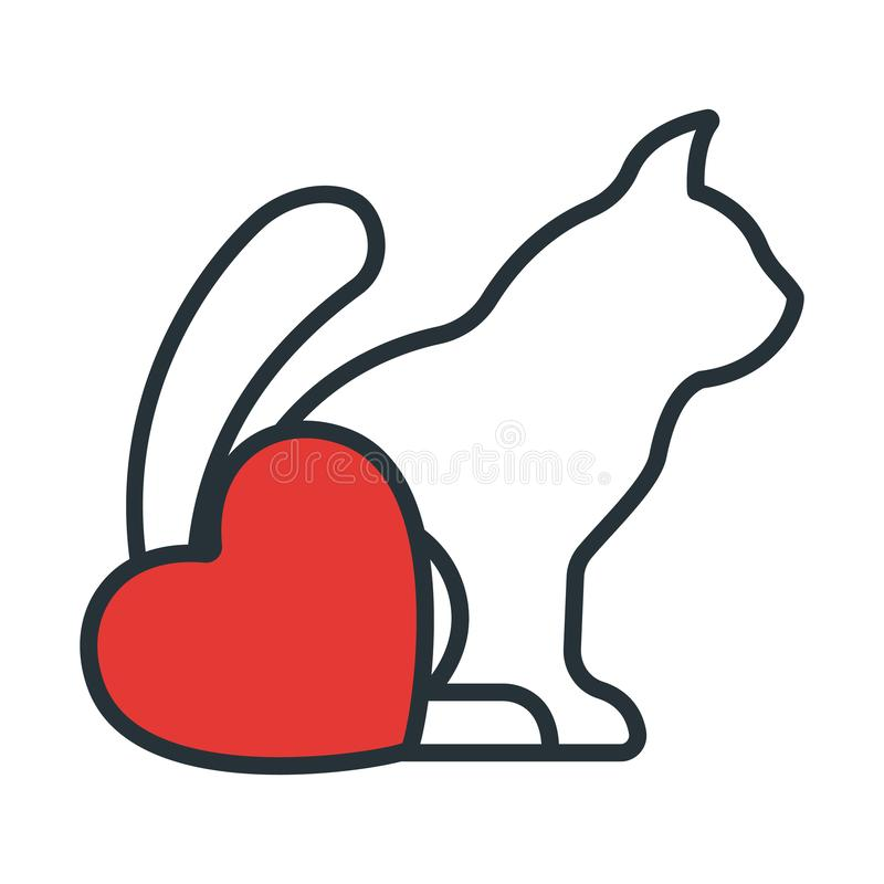 Cat with Heart Icon. Concept for Healthcare Medicine and Pet Care. Outline and Black Domestic Animal. Pets Symbol, Icon and Badge royalty free illustration