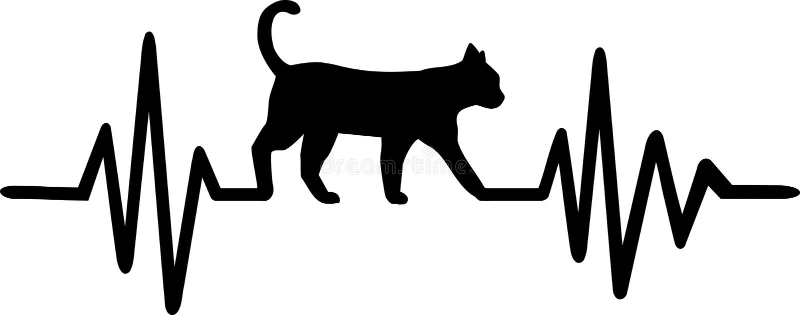 Cat heartbeat line with cats head. Heartbeat pulse line with cat head royalty free illustration