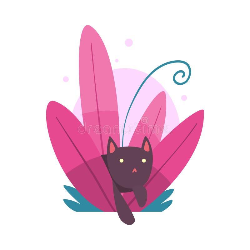 Cat Hiding divertida linda y el mirar a escondidas del ejemplo denso colorido del vector de la hierba ilustración del vector