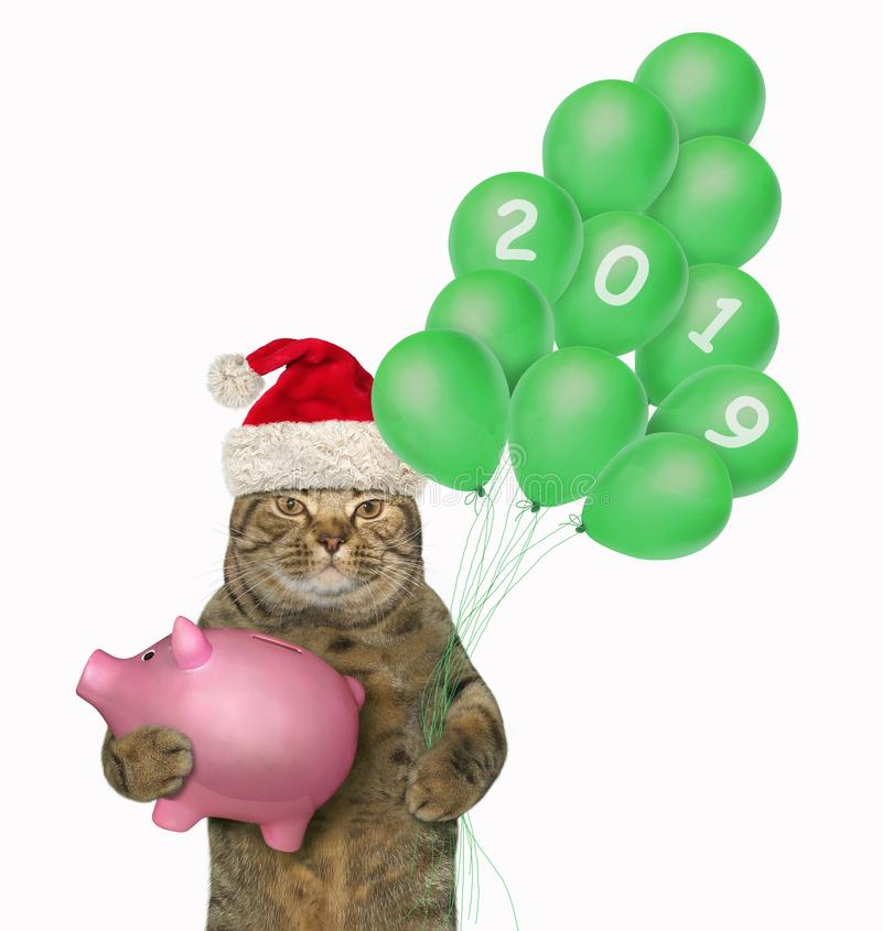 Cat holds a piggy bank and balloons stock images