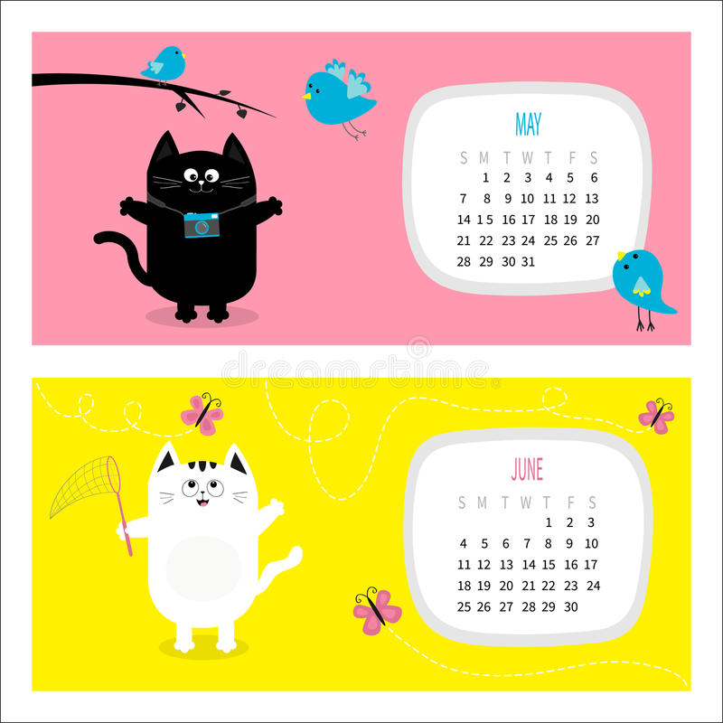 Free Cat Horizontal Calendar 2017. Cute Funny Cartoon Character Set. Royalty Free Stock Photo - 81974765