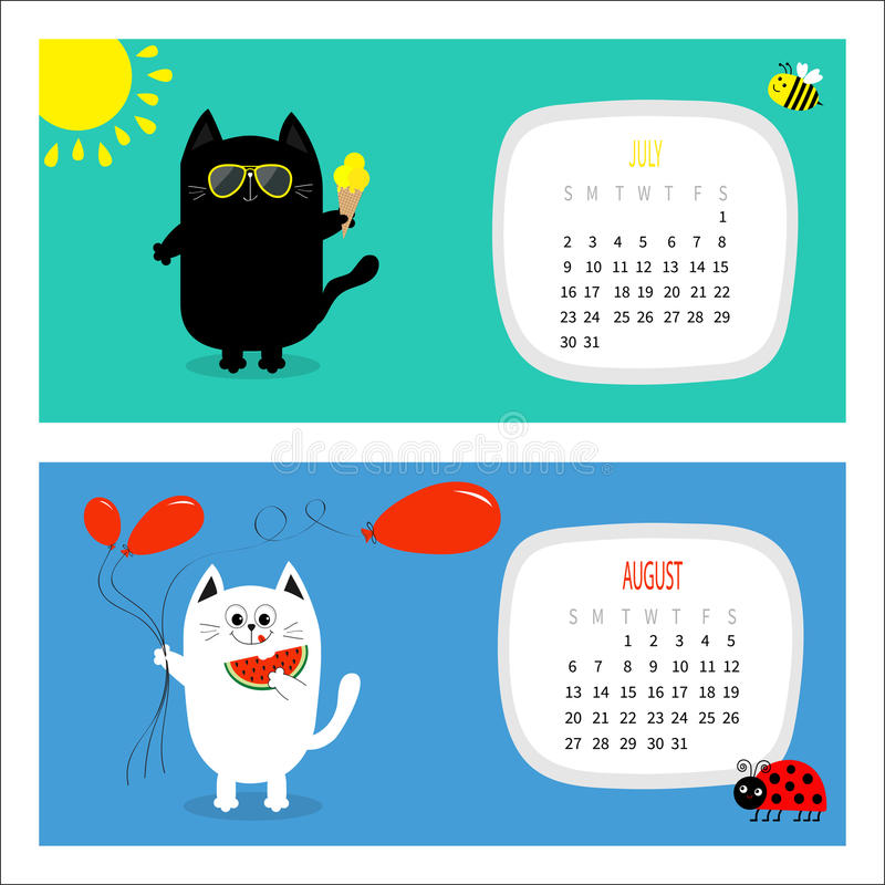 Attractive Cat Horizontal Calendar 2017. Cute Funny Cartoon White Black Character Set.  July August Hello Summer Month. Ice Cream, Yellow Sun Shining, Sunglasses.