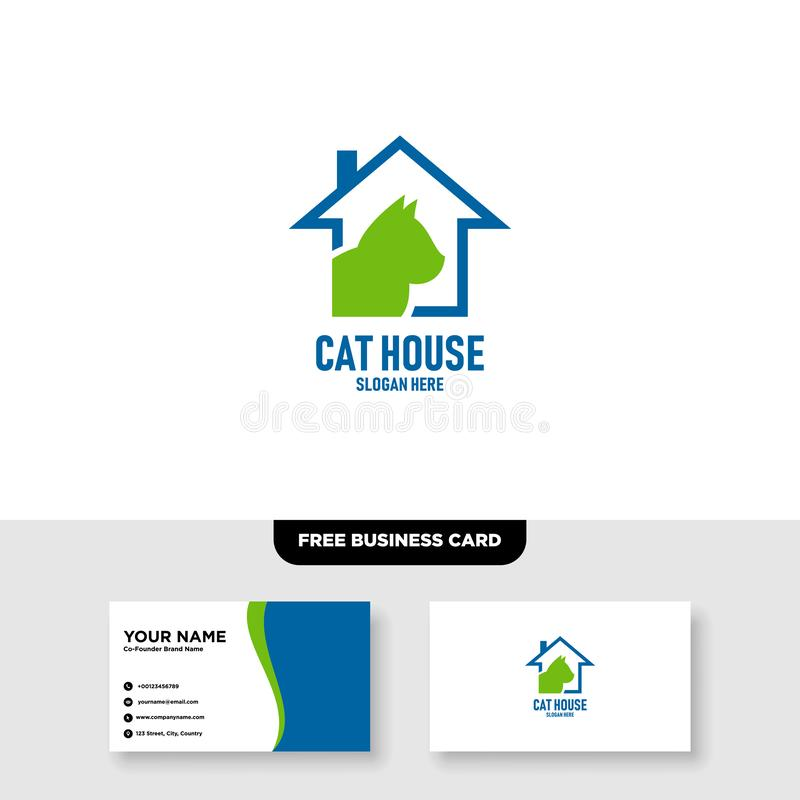 Cat House Logo Vector Template, Free Business Card Mockup royalty free illustration