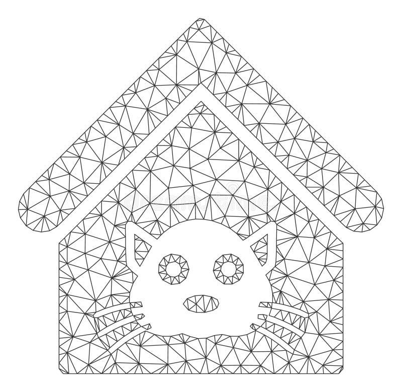 Cat House Polygonal Frame Vector Mesh Illustration ilustración del vector