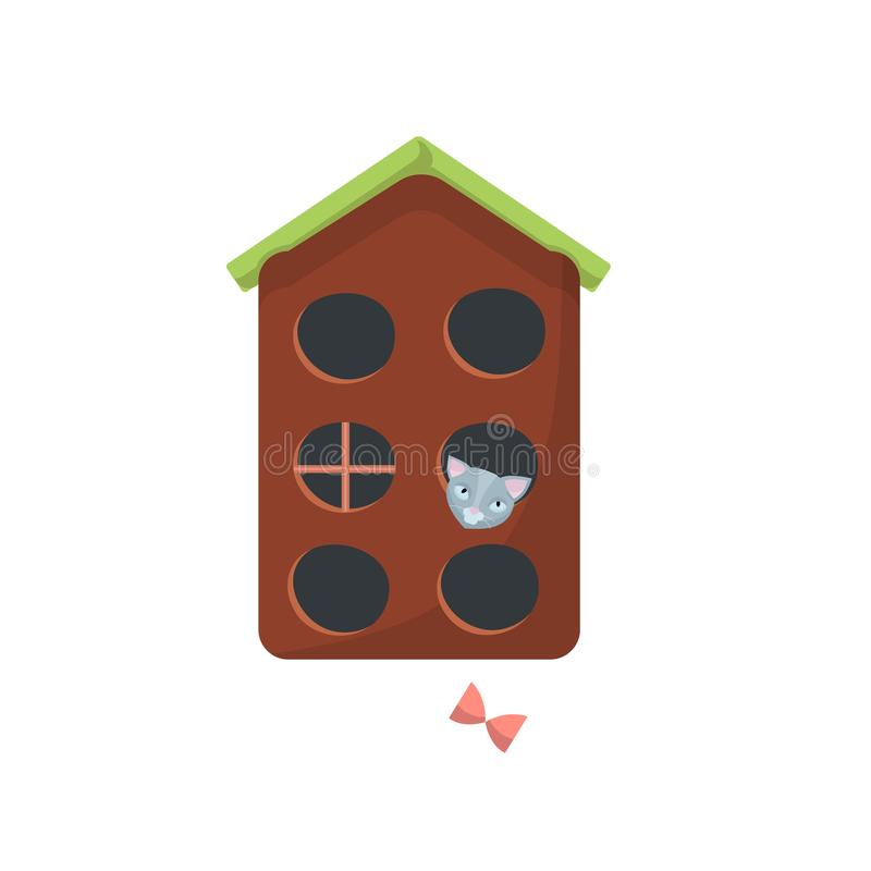 Cat house with roof, gray cat inside and with toy. Flat cartoon style vector character illustration on white background royalty free illustration