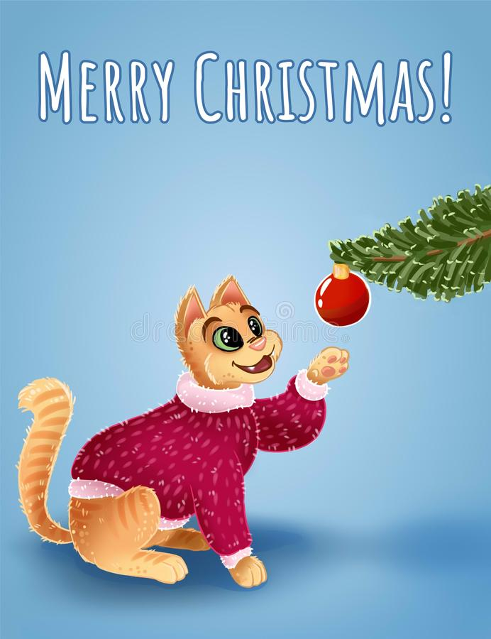Cat is hunting for Christmas toys. Merry Christmas text. Cute cartoon card for Christmas and New Year. Cat is hunting for Christmas toys. Merry Christmas text vector illustration