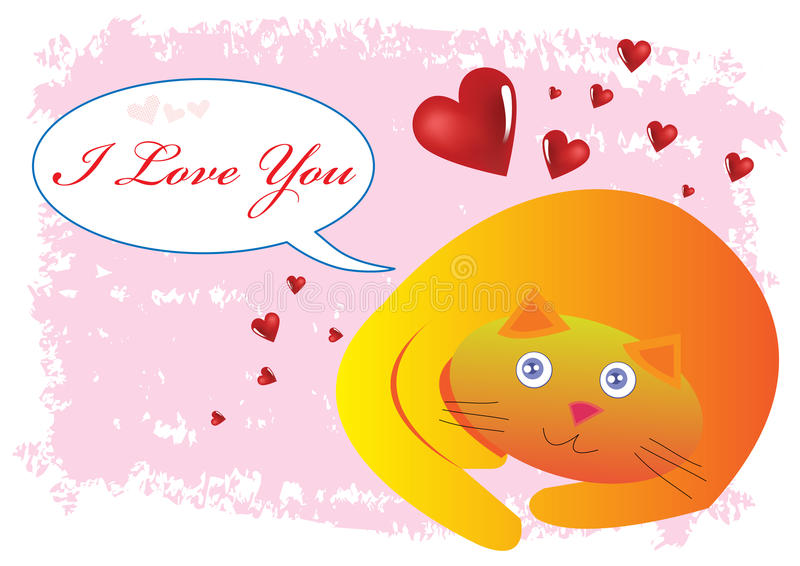 Cat I Love You Illustration Royalty Free Stock Photo