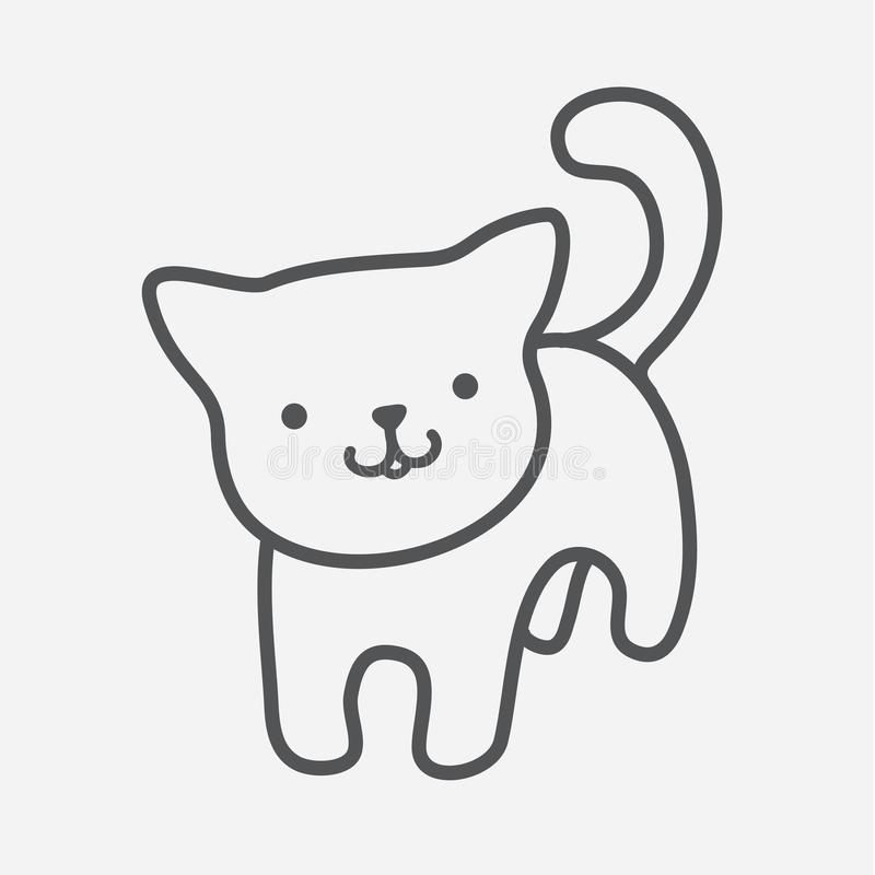 Cat icon. Cute kitty charm in simple lines Isolated picture of smiling kitten hand drawn with thick lines on a gray stock illustration