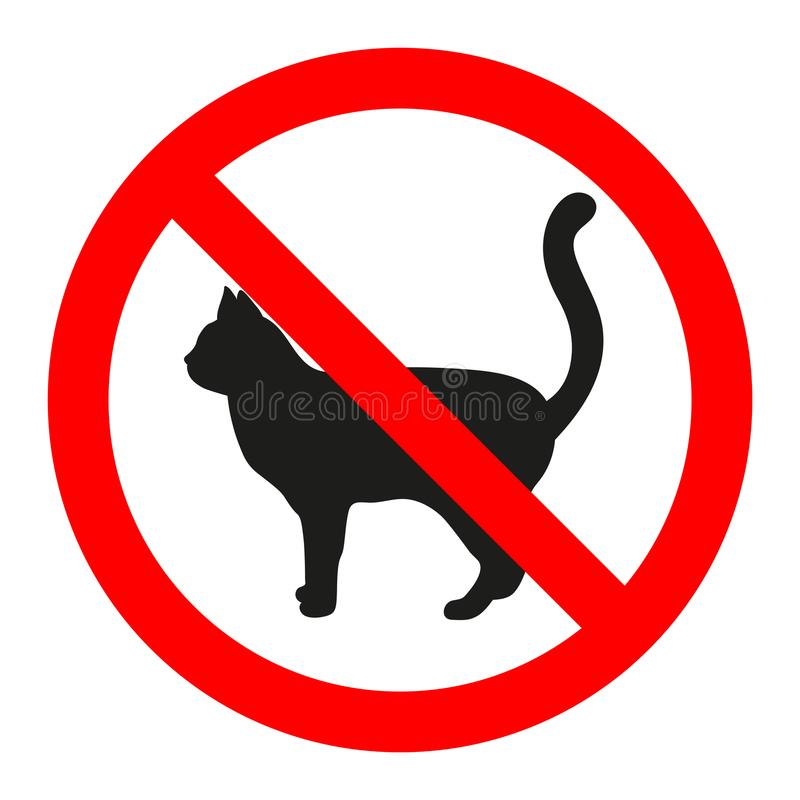 Cat icon in prohibition red circle, No pets ban sign, forbidden symbol. vector illustration