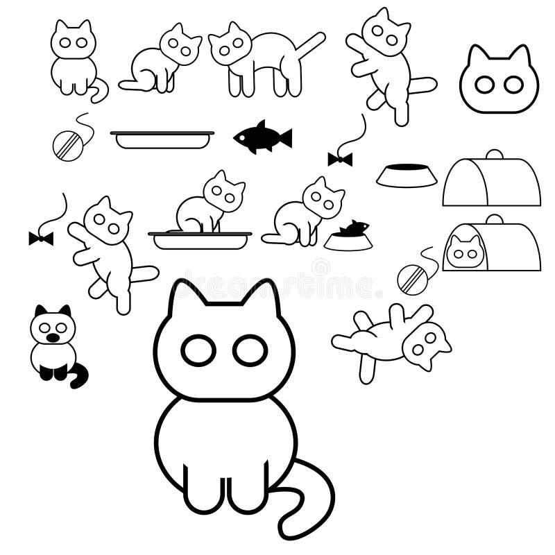 Download Cat icons stock vector. Image of animals, feline, black - 29000880