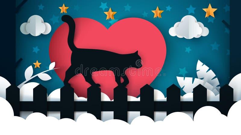 Cat Illustration Paisaje de papel de la historieta Árbol, estrella, nube, cielo ilustración del vector