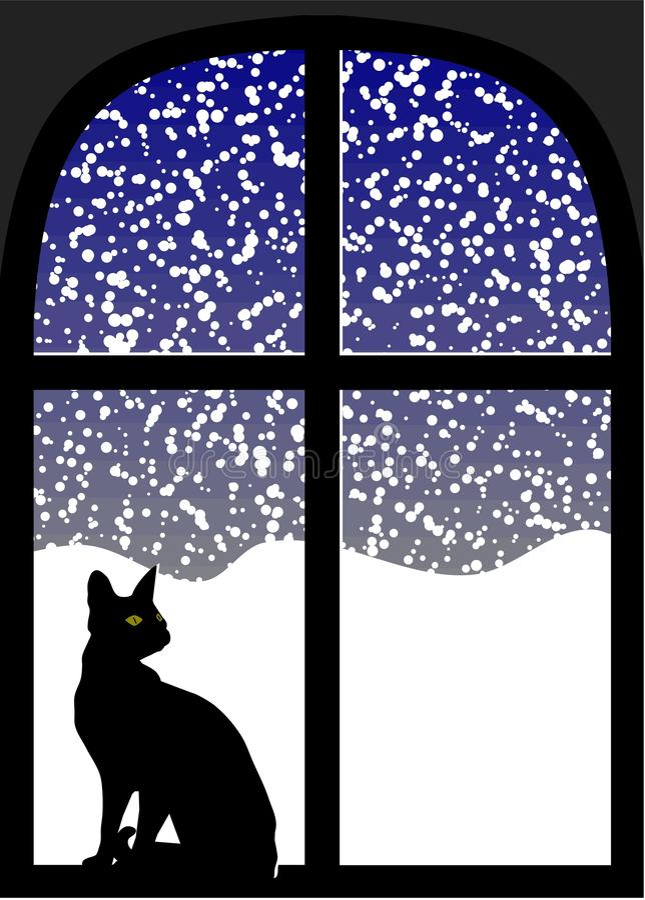 Free Cat In Window At Snowy Night Stock Photo - 26161800