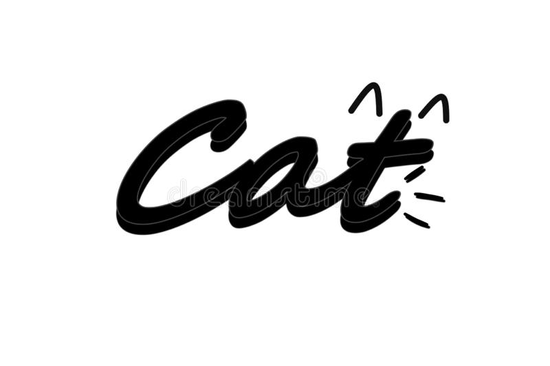 Cat . Ink hand lettering . Modern brush on white background. Illustration design. Pet, symbol, logo, creative, isolated, card, greeting, cute, details, drawn royalty free stock photos