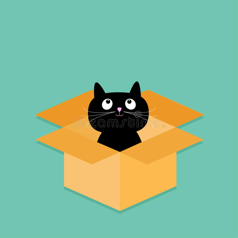 Cat inside opened cardboard package box. Flat design style. stock illustration