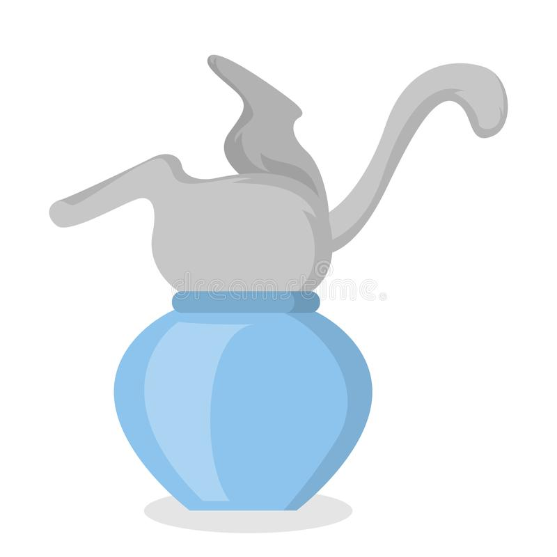 Cat inside vase. Cat inside vase playing on white background royalty free illustration