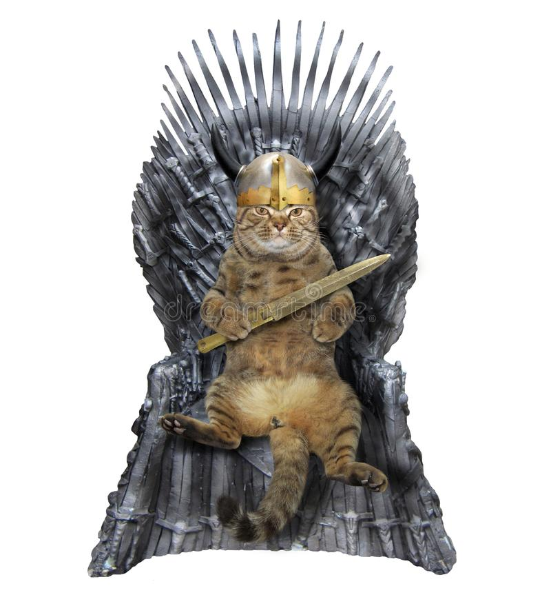 Cat on iron throne. The cat warrior is sitting on an iron throne. White background stock photo