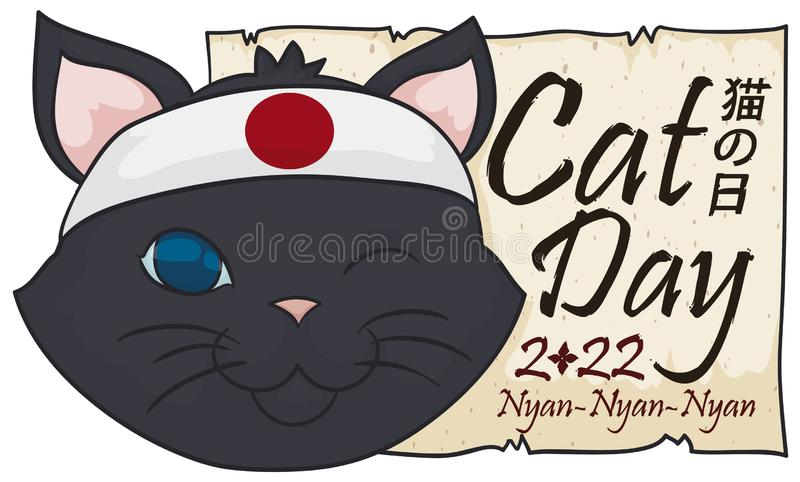Cat with Japanese Bandana and Greeting Scroll for Cat Day, Vector Illustration. Greeting scroll and happy cat, wearing a bandanna with Japan colors and winking royalty free illustration