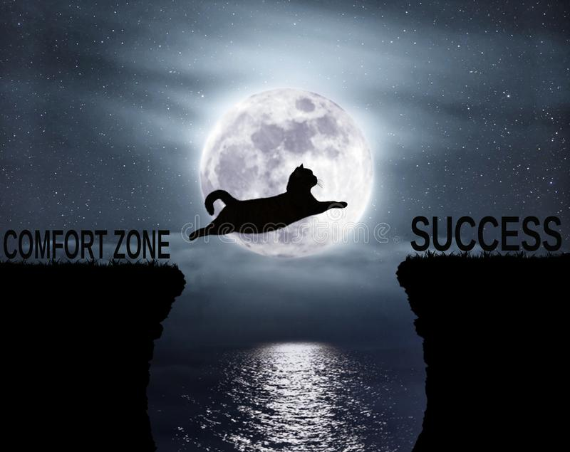 Cat jumps over the abyss. The brave cat jumps over the abyss. Comfort zone. Success. Positive attitude and motivation royalty free illustration