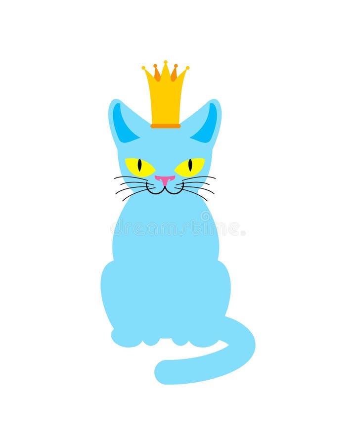 Cat King in corona Capo reale dell'animale domestico Illustrazione di vettore royalty illustrazione gratis