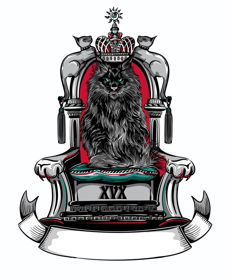 Cat King sull'illustrazione di vettore del trono illustrazione vettoriale