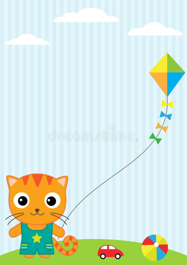 Cat and kite stock illustration