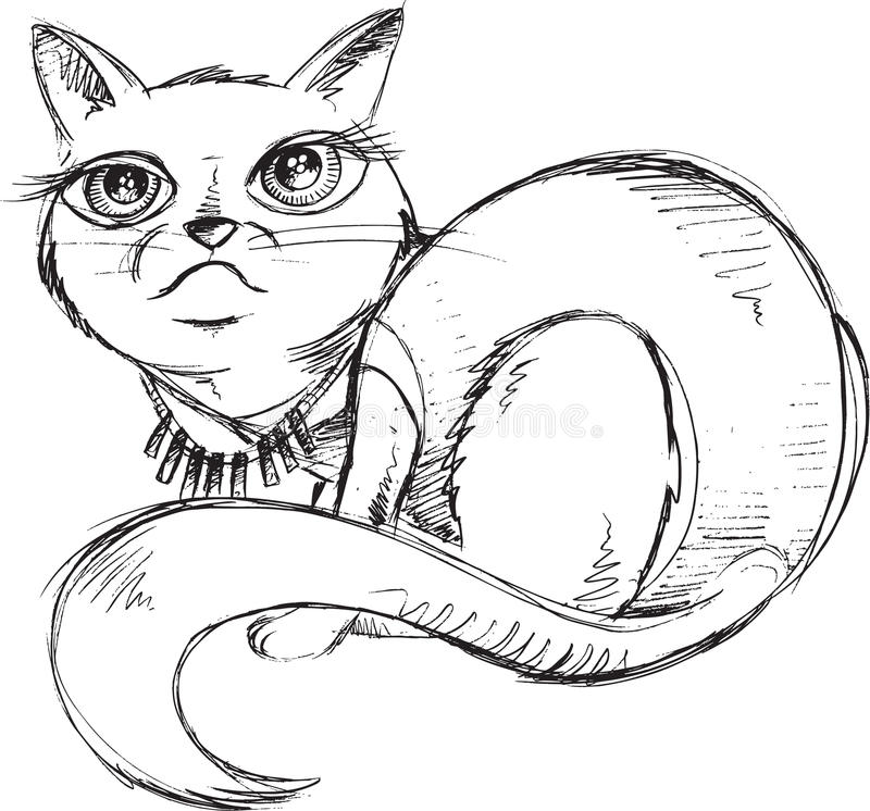 Cat Kitten Sketch Doodle illustrazione di stock