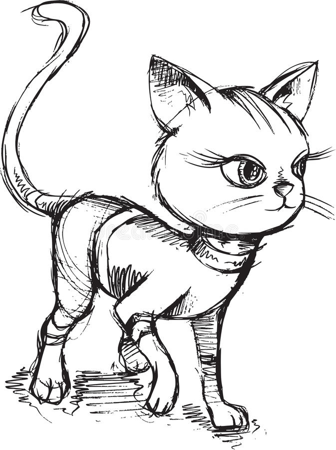 Cat Kitten Sketch Doodle royalty illustrazione gratis
