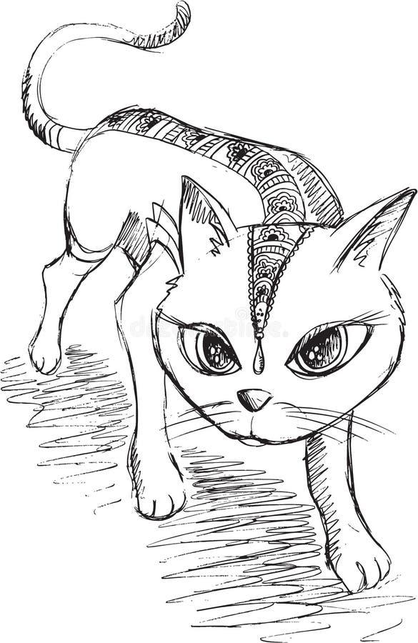 Cat Kitten Sketch Doodle ilustração stock